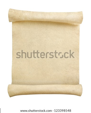 Blank retro scroll isolated on white background - stock photo