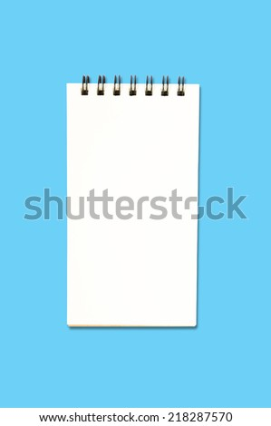 Blank Ring Binder Notepad isolated on Blue Background with Clipping path - stock photo
