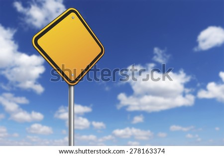Blank road sign and blue sky - stock photo