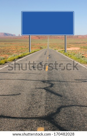 Blank road sign illustration along the road to monument valley national park - stock photo