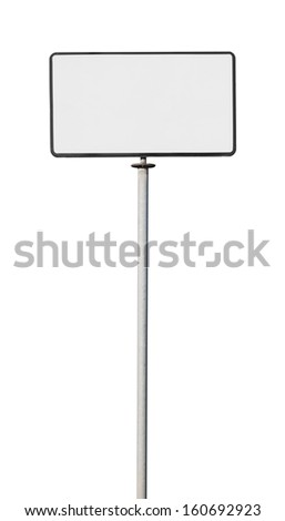 Blank road sign isolated on white