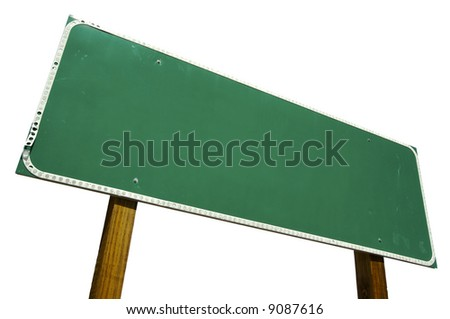 Blank Road Sign Isolated on White with Clipping Path - stock photo