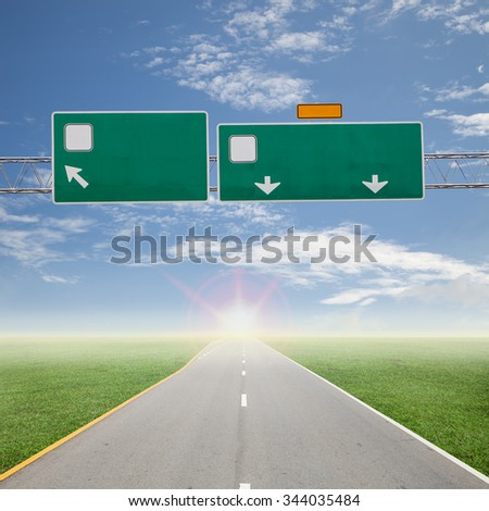 Blank road sign on highway - stock photo