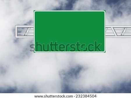 Blank road sign over cloudy sky - stock photo