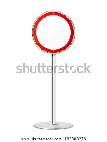 Blank road sign with stand isolated on a white background, illustration. - stock photo