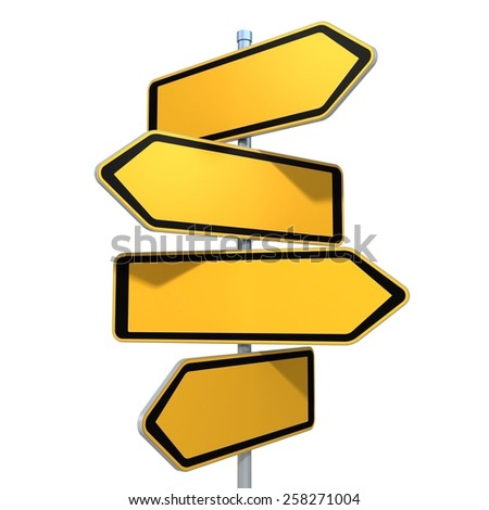 blank road signs pointing in the different directions - stock photo