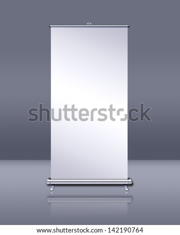 Blank roll-up banner display - stock photo