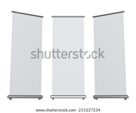 Blank roll-up banner display, isolated