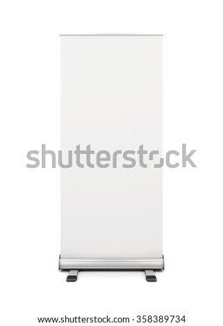 Blank roll up banner display isolated on white background. Template roll up advertising for your design. Front view of an advertising stand. 3d illustration.