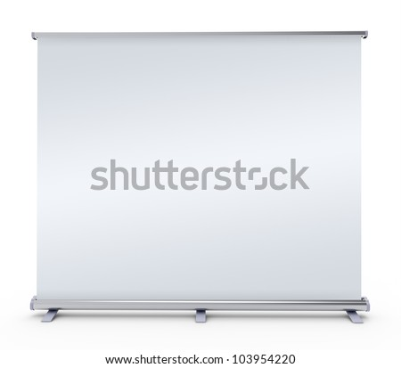 Blank roll up banner display -  on white background - stock photo
