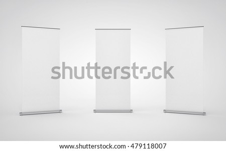 Blank roll up banner display on white background. 3D Render