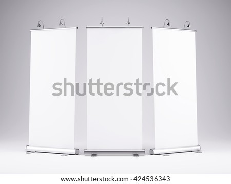 Blank roll up banner display on white background.Template mockup.3d render