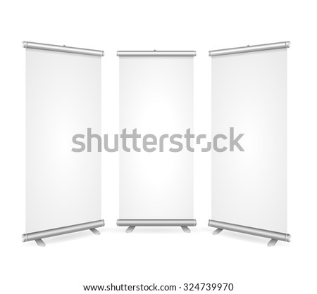 Blank Roll Up Banner 3 Display View Template. Ready for Your Presentations, Demonstrations, Reports. illustration
