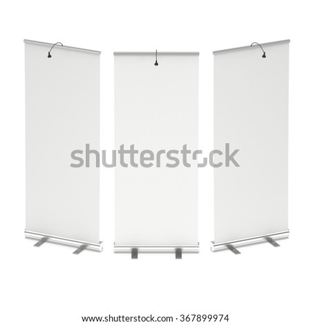 Blank Roll Up Banner Stand Group. Trade show booth white and blank. 3d render illustration isolated on white background. Template mockup for your design.