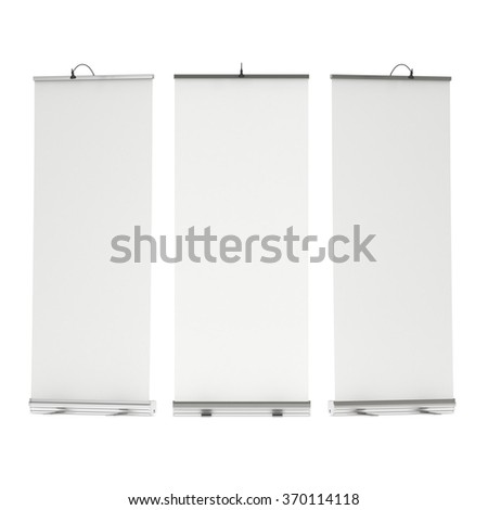Blank Roll Up Banner Stand Group. Trade show booth white and blank. 3d render illustration isolated on white background. Template mockup for your expo design.