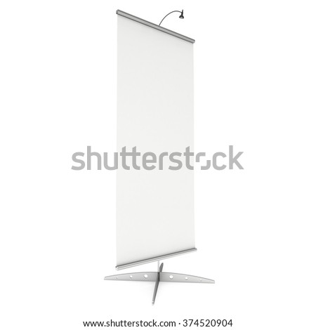 Blank Roll Up Banner Stand. Trade show booth white and blank. 3d render illustration isolated on white background. Template mockup for your expo design.
