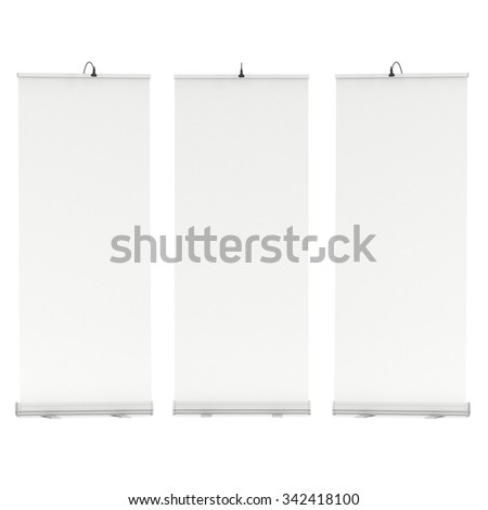 Blank Roll Up Banner Stands. Trade show booth white and blank. 3d render isolated on white background. High Resolution Template for your design. - stock photo