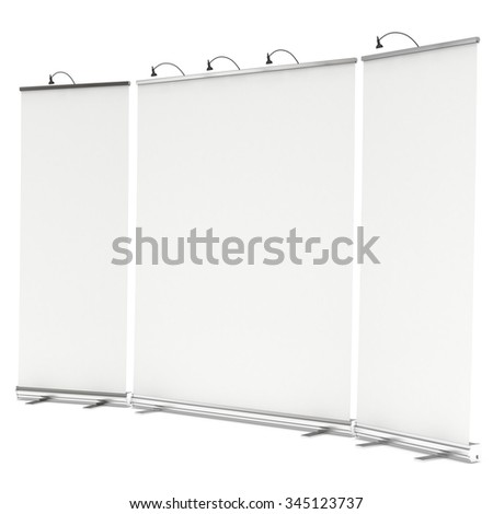Blank Roll Up Banner Stands. Trade show booth white and blank. 3d render isolated on white background. High Resolution Template for your design.