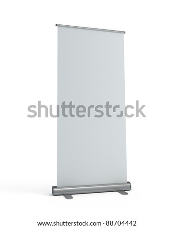 Blank roll-up display banner template - stock photo