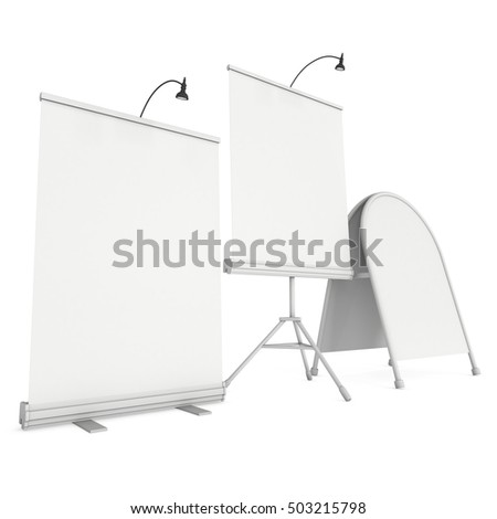 Blank Roll Up Expo Banner Stand Group and Sandwich board. Trade show booth white and blank. 3d render illustration isolated on white background. Template mockup for your expo design.