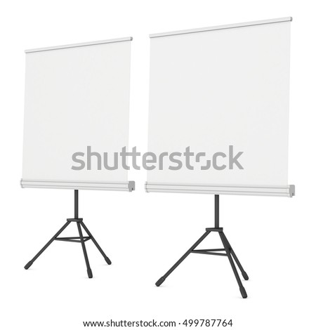 Blank Roll Up Expo Banner Stand on Tripod. Trade show booth white and blank. 3d render illustration isolated on white background. Template mockup for your expo design.