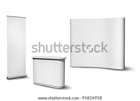 Blank roll-up poster, fair desk and concave wall on white background - stock photo
