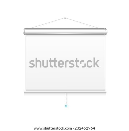 Blank roll up poster template,  display on white background  - stock photo