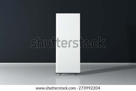 Blank roll up poster - vertical billboard for text - stock photo
