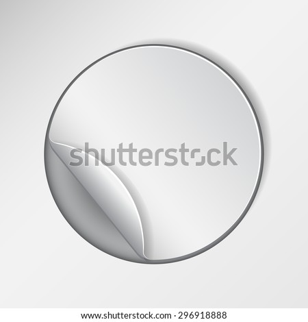 Blank, round promotional sticker, clipped in white paper.   - stock photo