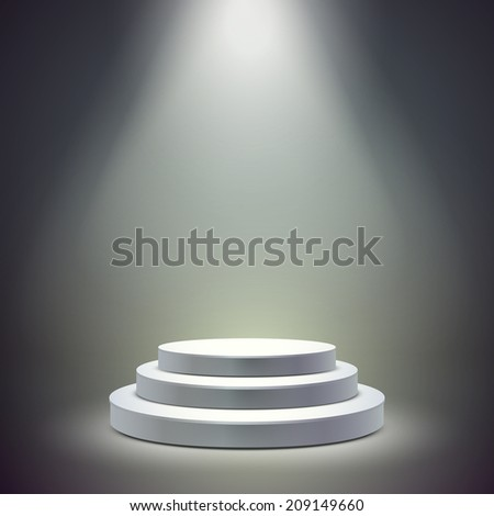 blank round stage isolated over dark background