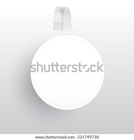 Blank Round Wobbler with Transparent Strip Isolated on a White Background - stock photo