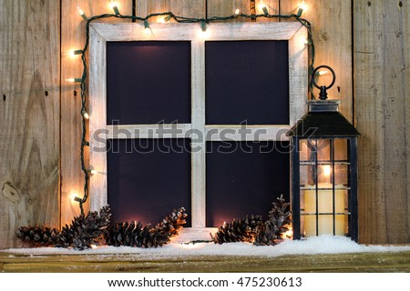 Blank Rustic Window Frame String Holiday Stock Photo (Royalty Free ...