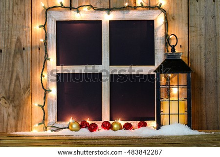 blank rustic window with string of holiday lights antique lantern with candle snow - Antique Christmas Lights