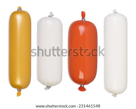 Blank salami and sausage packages isolated on white background - stock photo