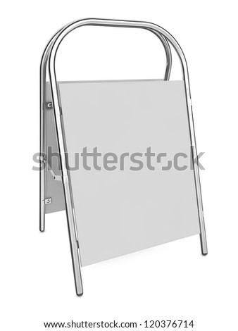Blank Sandwich Board Isolated on White - 3d illustration - stock photo