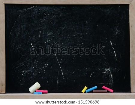 Blank school black board chalk - stock photo