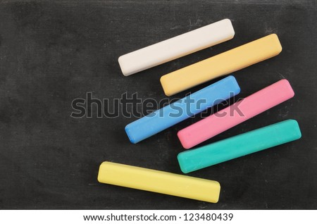 Blank school board with color chalk