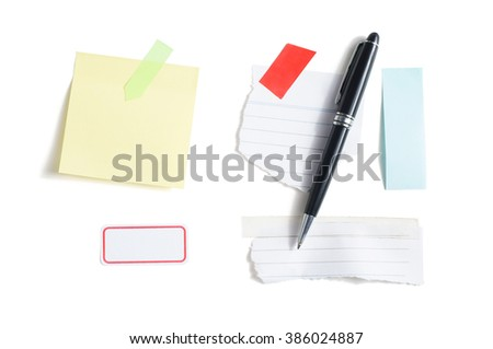 Blank scrap paper, sticky note and pen, isolated on white background.