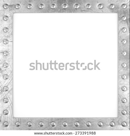 Blank scratched metal frame with rivets. 3d render