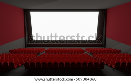 Blank screen in empty cinema hall. 3D rendered illustration.