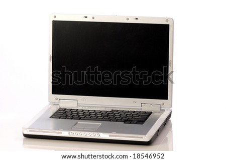 blank screen laptop computer isolated on white