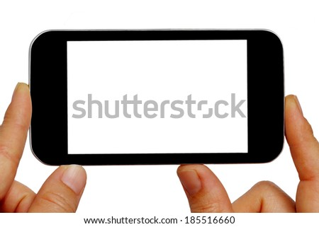 Blank screen mobile phone in female hand isolated on a white background - stock photo