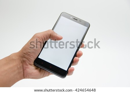 blank screen mobile phone in hand - stock photo