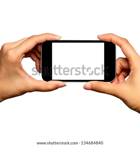 Blank screen mobile phone in Two hands - stock photo