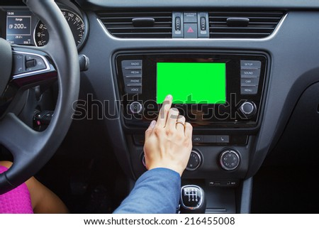 Blank screen of a modern car's multimedia system