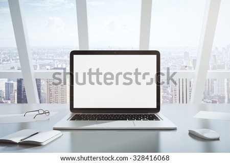 Blank screen of laptop, diary and glasses, mock up - stock photo