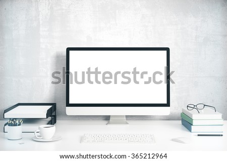 Blank screen on the desktop computer with books and cup of coffee, mock up 3D Render - stock photo