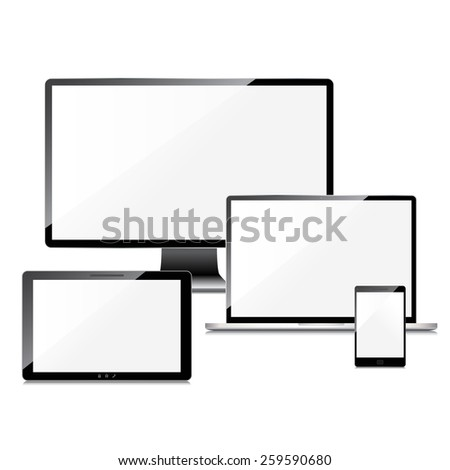 Blank screens set, isolated on white background - stock photo