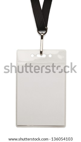 Blank security badge with band isolated on white background.