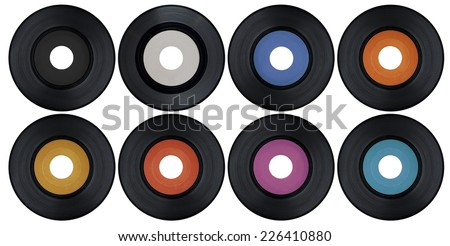 Blank set of vinyl records - stock photo